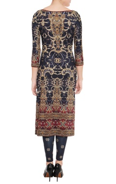 Black & maroon printed kurta & leggings