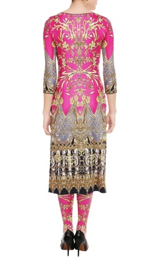 Fuschia pink printed kurta & leggings