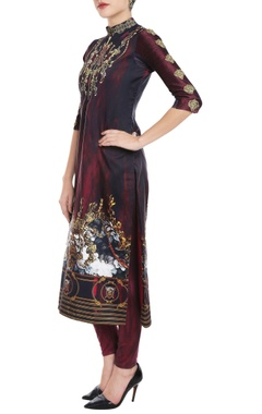 Ox-blood printed kurta & leggings