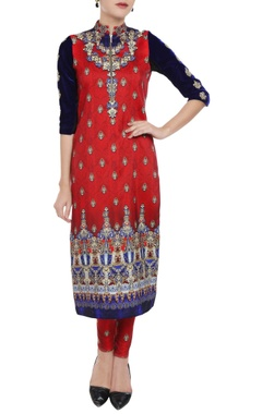 Falguni Shane Peacock Scarlet orange & royal blue printed kurta & leggings