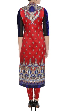Scarlet orange & royal blue printed kurta & leggings