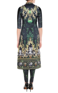 Emerald green printed kurta & leggings