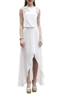Ivory wrap style maxi dress