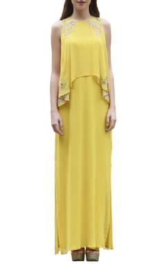 Yellow embroidered maxi dress