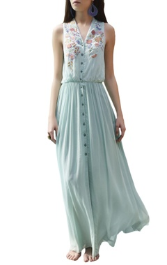 pastel blue embroidered maxi dress