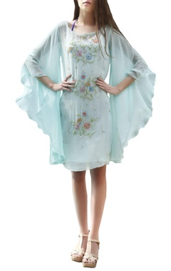 Aqua blue dress with flared sleeves