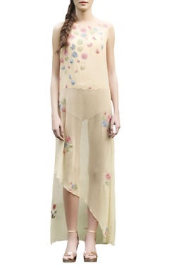 Beige embroidered long top