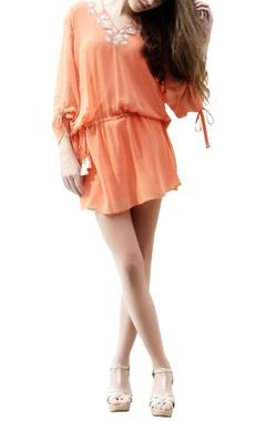Orange embroidered kaftan top