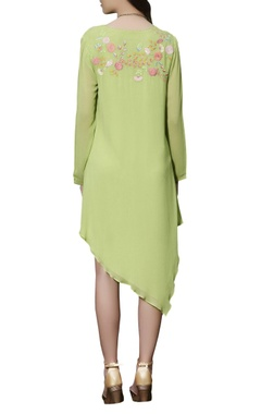 Parrot green asymmetric dress