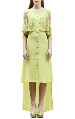 Parrot green high low dress