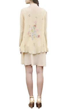 beige embroidered short dress