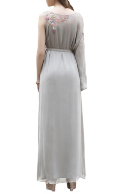 Grey one-sleeve embroidered maxi dress