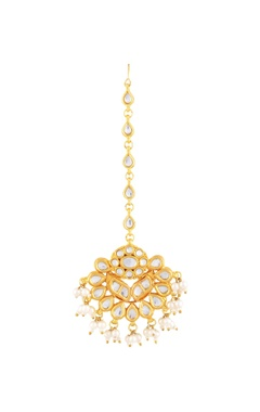 Gold polished maangtikka with pearls & kundan