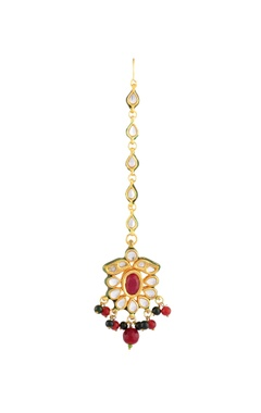 Gold plated maangtika with stones