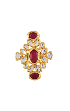 Gold plated kundan ring with stones