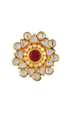 Gold plated geometric kundan ring