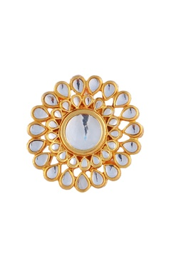 Gold plated kundan round ring