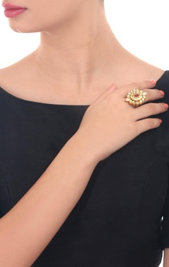 Gold plated with studded kundan stones ring