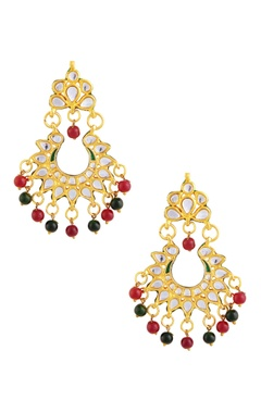 Gold polished earrings with green & red stones