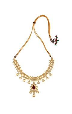kundan drop pendant necklace with earrings