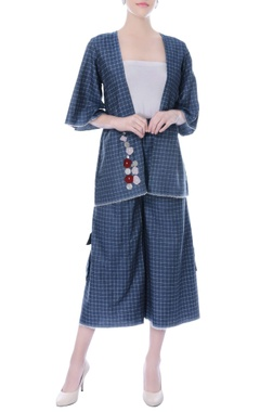 Denim blue checkered jacket and culottes set