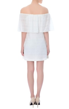 White off-shoulder dress with applique details