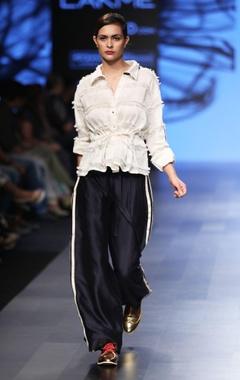 Ivory frayed shirt