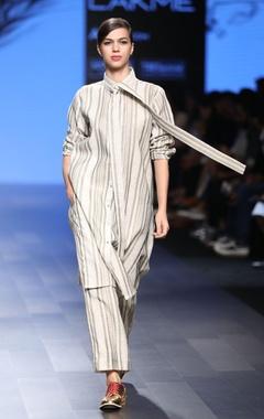Ivory & light olive striped long shirt