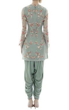 blue floral detailed organza tunic with modal dhoti