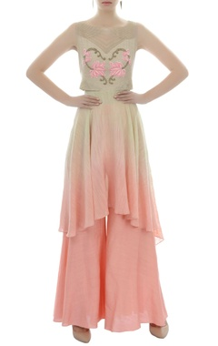 beige and pink shaded embroidered tunic and palazzo