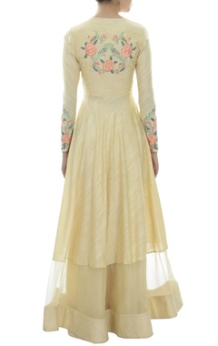cream embroidered suit with chanderi palazzo