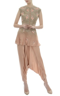 Shaded brown and pink tunic and modal dhoti