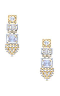 gold studded drop earrings