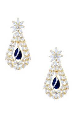 Gold polished studded drop earrings