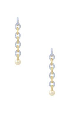 gold diamond stone studded drop earrings