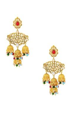 gold finish chandelier earrings