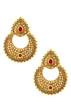 Gold finish studded chaandbaalis