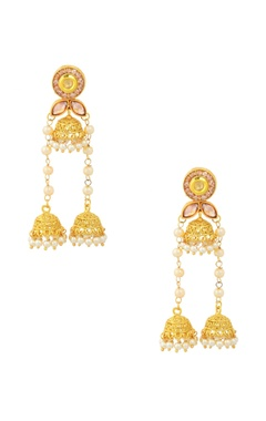 Gold finish jhumka dangler earrings