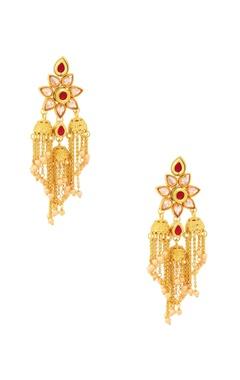 gold finish tassel drop earrings