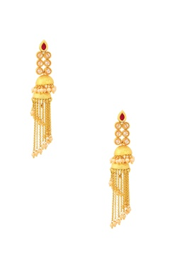 Gold finish drop earrings with jhumkas