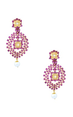 Gold finish purple drop earrings