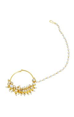 gold finish kundan & pearl nose rings