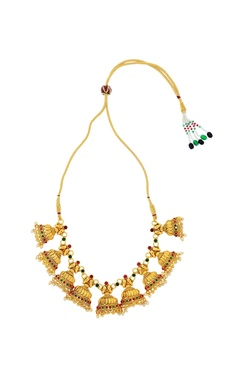 Gold finish studded necklace set
