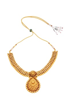 gold finish statement necklace set with earrings