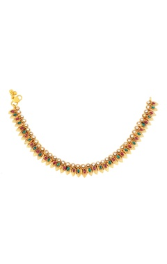 gold finish payals with studded danglers