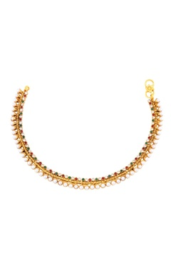 gold finish payals with stones & pearls