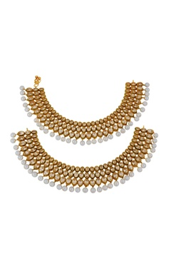 Gold finish tiered kundan payal