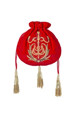 Red embroidered potli bag