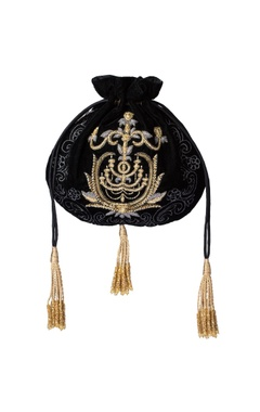 Black embroidered potli bag