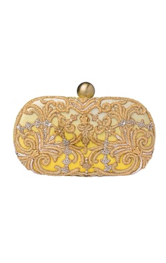 Lovetobag White & yellow ombre zardozi clutch